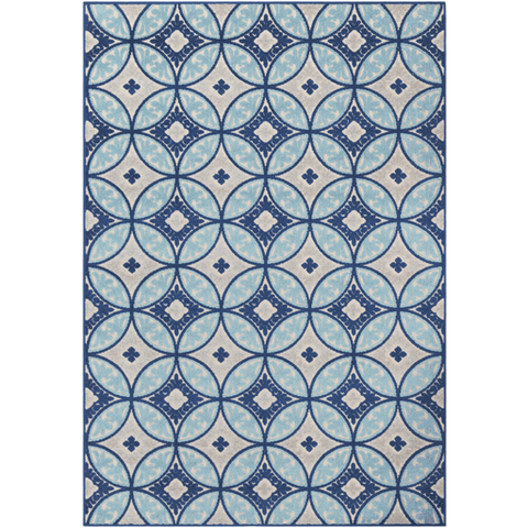 Image of Joblin Rug ~ Aqua/Dark Blue/Light Gray/Cream - Cece & Me - Home and Gifts