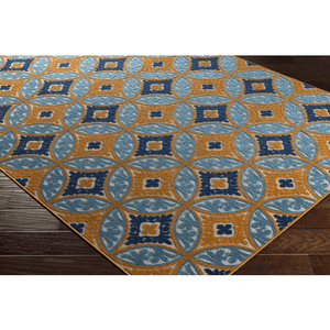 Joblin Rug ~ Saffron/Aqua/Navy/Cream - Cece & Me - Home and Gifts