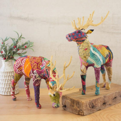 Kantha Covered Table Top Reindeer (Set of 2) - Cece & Me - Home and Gifts