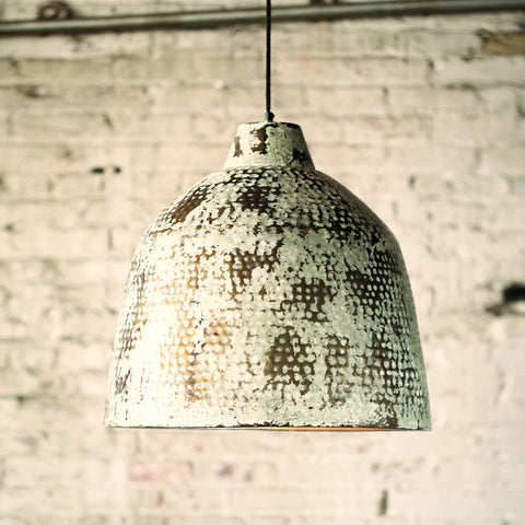 Kester Rustic White Metal Pendant Light - Cece & Me - Home and Gifts