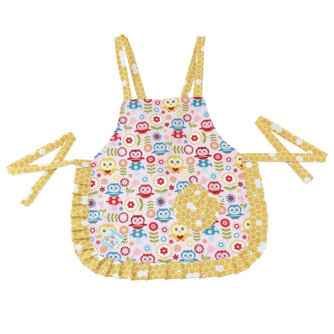 Image of Cute Pink Owl & Honeycomb Kids Apron - Cece & Me - Home and Gifts
