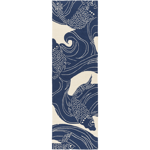 Koi Rug ~ Dark Blue & Beige - Cece & Me - Home and Gifts