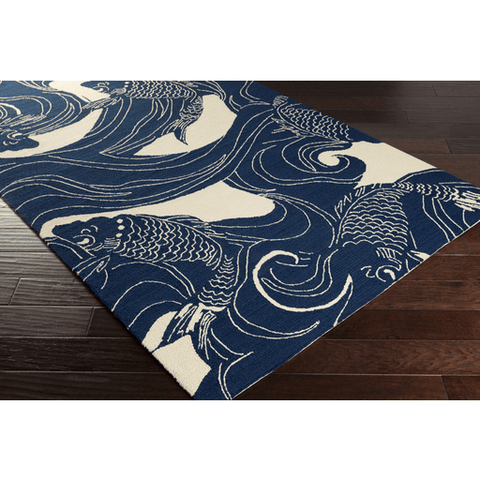 Image of Koi Rug ~ Dark Blue & Beige - Cece & Me - Home and Gifts