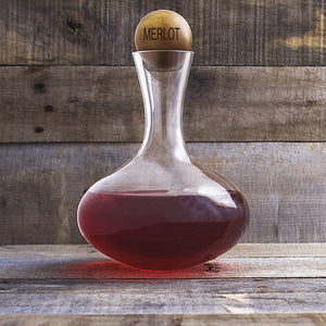 Personalized 67.62 oz. Large Wine Decanter with Wood Stopper - Cece & Me - Home and Gifts