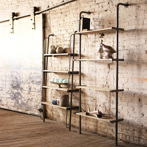Leaning Metal & Wood Wall Shelf Unit - Cece & Me - Home and Gifts