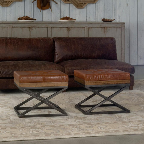 Image of Leather Cushion Bench - Cece & Me - Home and Gifts