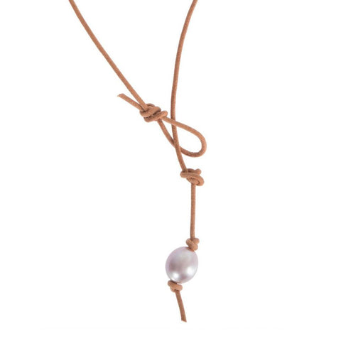 Leather & Pearl Lariat - Cece & Me - Home and Gifts