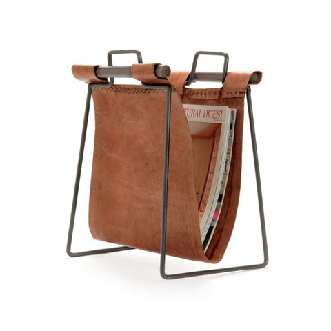 Leather Sling Magazine Stand - Cece & Me - Home and Gifts