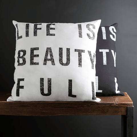 Image of Life is Beautiful Pillow ~ Black - Cece & Me - Home and Gifts