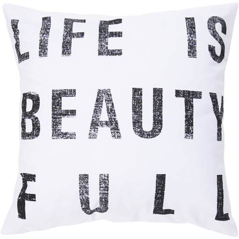 Image of Life is Beautiful Pillow ~ White - Cece & Me - Home and Gifts