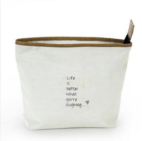 Life is Better Better When You're Laughing Pouch ~ Pale Blue - Cece & Me - Home and Gifts