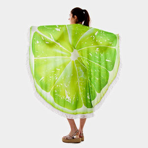Lime Round Beach Terry Towel