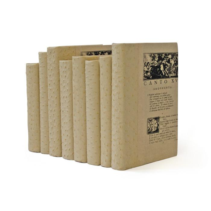 Linear Foot of Ostrich Faux White Books