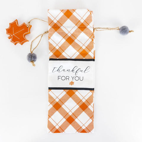 Image of Linen Wine Bag ~ Thankful For You - Cece & Me - Home and Gifts