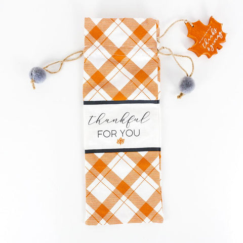 Linen Wine Bag ~ Thankful For You - Cece & Me - Home and Gifts