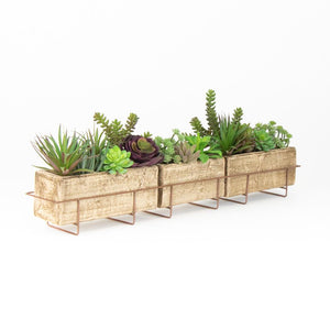 Long Clay Planter With Copper Finish Wire Base - Cece & Me - Home and Gifts