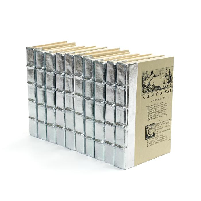 Linear Foot of Metallic Silver Books