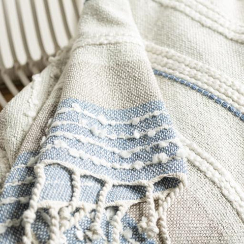 Manteo Throw ~ Sea Foam/Denim - Cece & Me - Home and Gifts