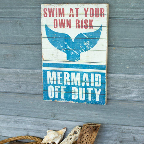 Mermaid Off Duty Printed On Wood - Cece & Me - Home and Gifts