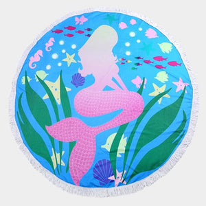 Mermaid Round Beach Towel ~ Aqua - Cece & Me - Home and Gifts