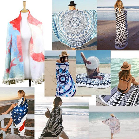 Mermaid Multi-Way Round Beach Terry Towel - Cece & Me - Home and Gifts