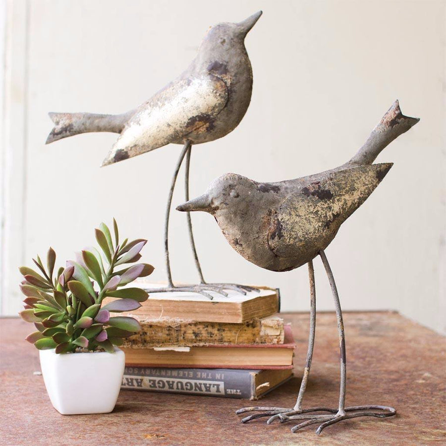 (Set of 2) Metal Birds ~ Rustic Grey - Cece & Me - Home and Gifts