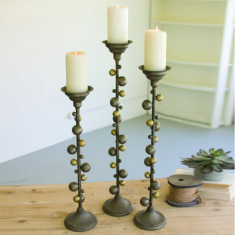 Metal Candle Stands With Ball Details (Set of 3) - Cece & Me - Home and Gifts