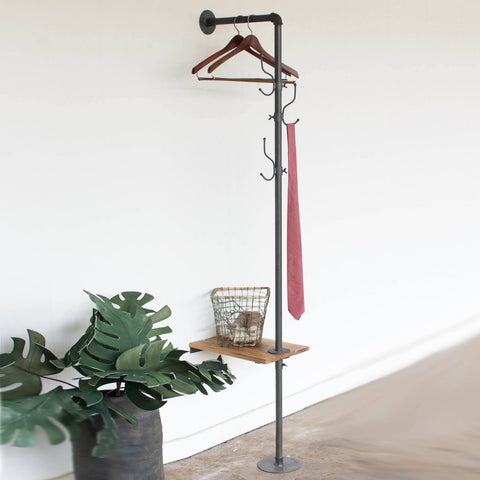 Metal Coat Rack with Recycled Wooden Slat Side Table - Cece & Me - Home and Gifts