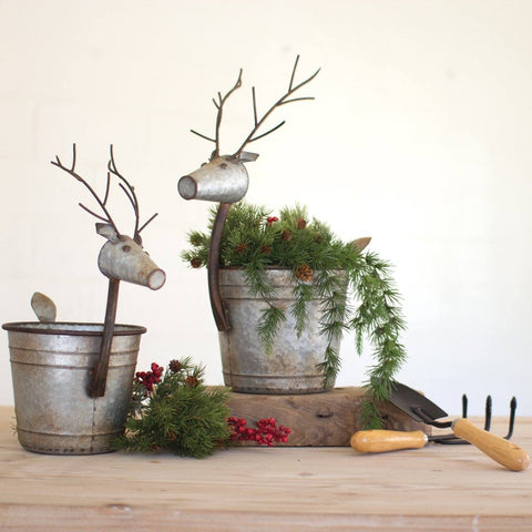 Metal Deer Planters (Set of 2) - Cece & Me - Home and Gifts