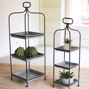 Metal Display Stands w/ Galvanized Trays (Set of 2) - Cece & Me - Home and Gifts