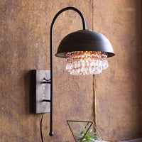 Metal Dome Wall Lamp with Glam Detail