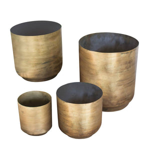 Flower Pots ~ Aged Brass Finish (Set of 4) - Cece & Me - Home and Gifts