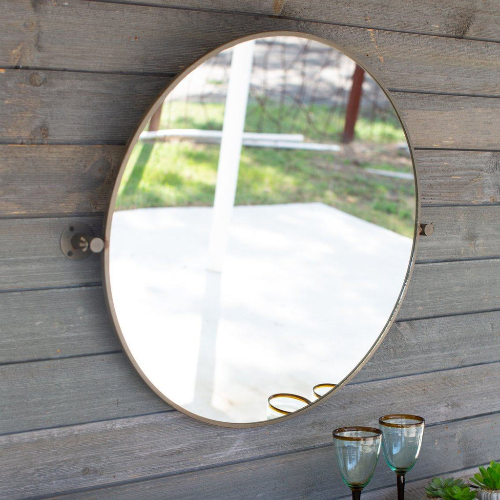 Metal Framed Tilted Round Mirror - Cece & Me - Home and Gifts