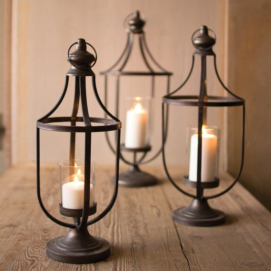 Metal Lanterns With Glass Insert (Set of 3)