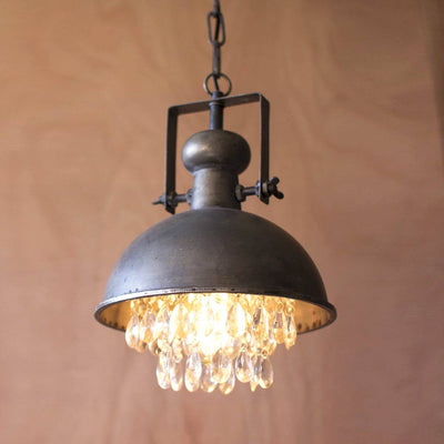 Metal Dome Pendant Lamp with Hanging Crystals - Cece & Me - Home and Gifts