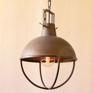 Metal Pendant Light With Cage - Cece & Me - Home and Gifts