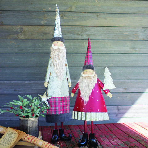 Metal Santas With Beards (Set of 2) - Cece & Me - Home and Gifts