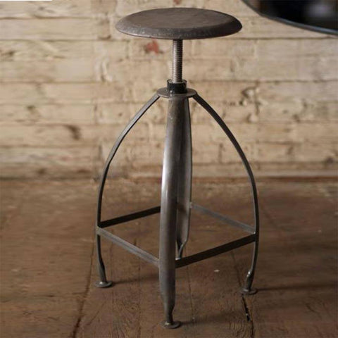 Image of Metal Stool with Adjustable Top ~ Rust Seat with Raw Base - Cece & Me - Home and Gifts