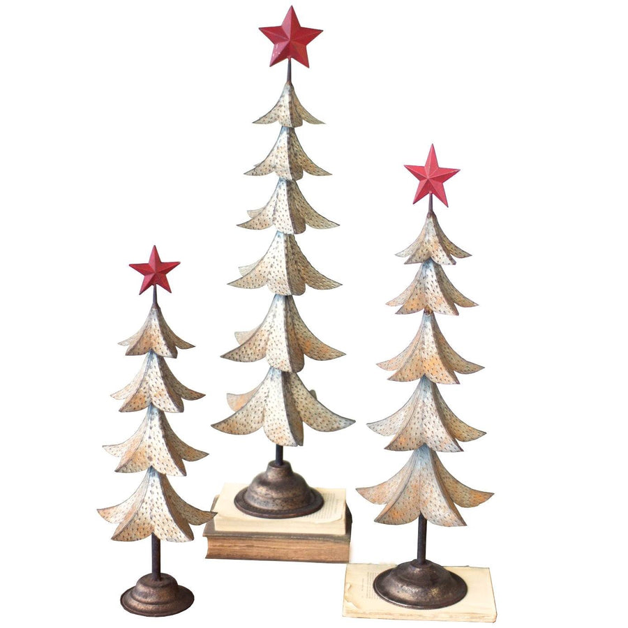 Metal Trees With Red Star (Set of 3)