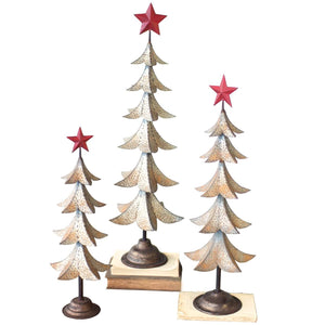 Metal Trees With Red Star (Set of 3) - Cece & Me - Home and Gifts