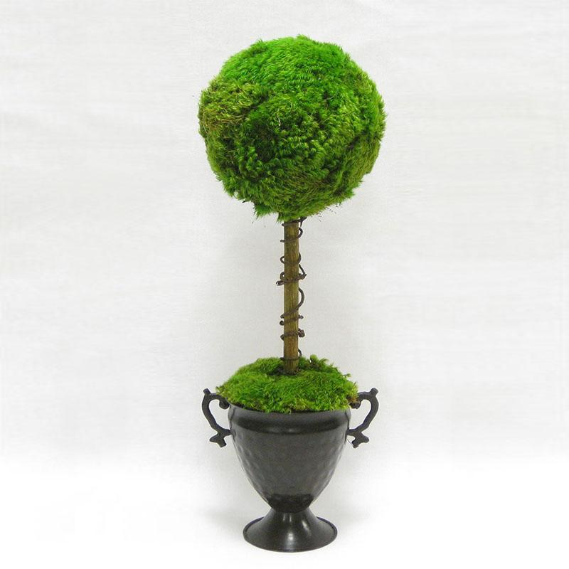 Metal Trophy Urn ~ One Ball Moss Topiary - Cece & Me - Home and Gifts