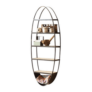 Metal & Wood Oval Wall Shelf - Cece & Me - Home and Gifts