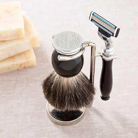Black Badger Shave Brush with Gillete Mach 3 Blade and Stand - Cece & Me - Home and Gifts
