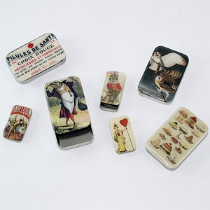 Harlequin Vintage Tobacco Ad Tin Pill Box, Slider Tin, Mint Tin, Favor Tin - Small - Cece & Me - Home and Gifts