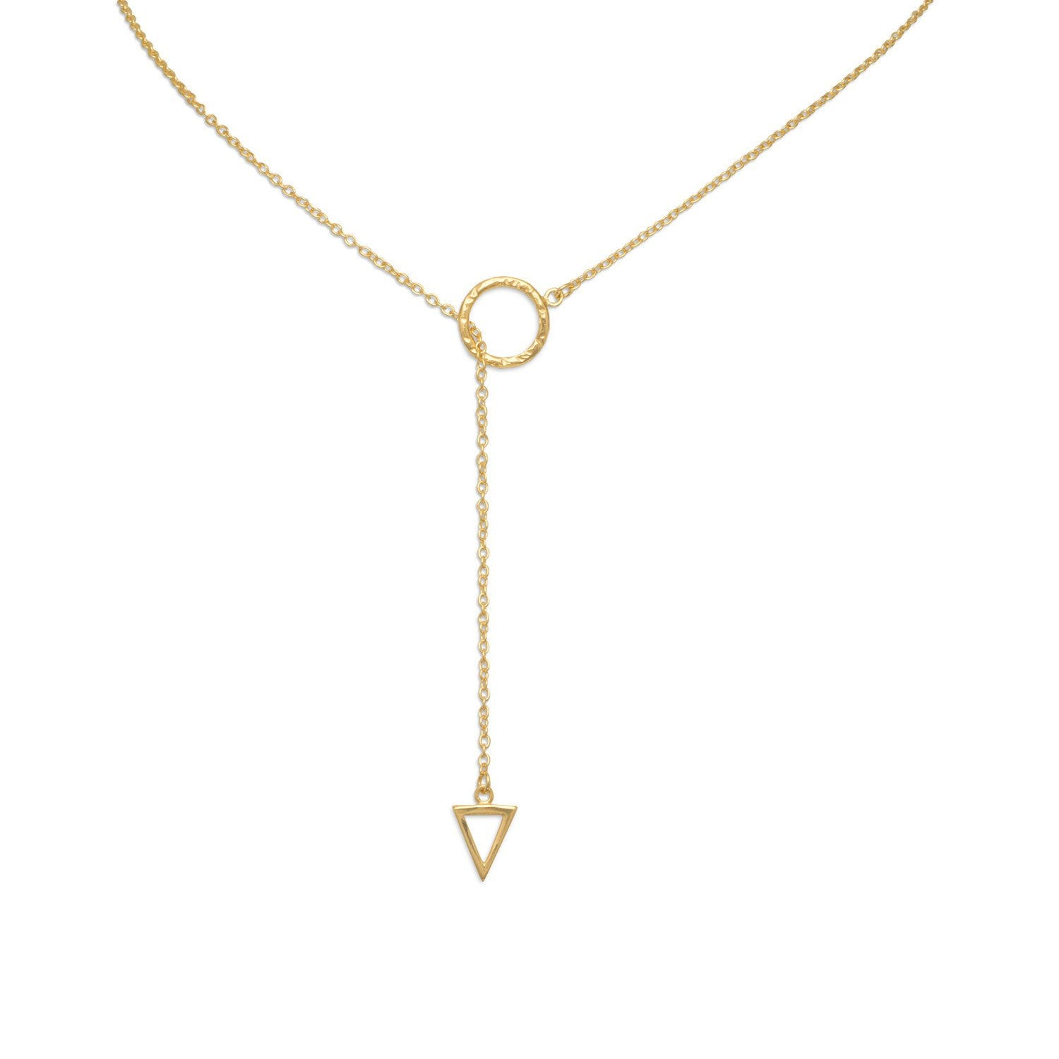 "Multi-shape Lariat Necklace ~ 14 Karat Plated Gold 24"" - Cece & Me - Home and Gifts"