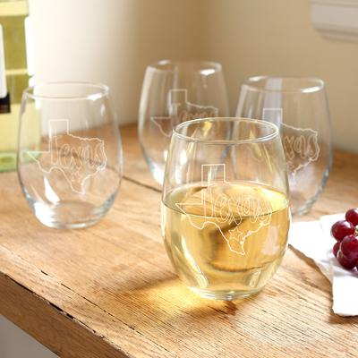 My State Stemless Wine Glasses (Set of 4) - Cece & Me - Home and Gifts