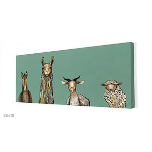 Donkey, Llama, Goat, Sheep Giclee Canvas ~ Teal