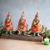 Recycled Metal Santas On A Wood Base (Set of 3)