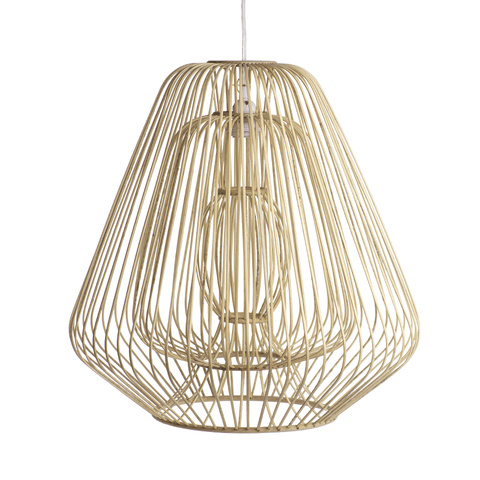 Image of Bamboo & Rattan Layered Bell Shape Pendant - Natural - Cece & Me - Home and Gifts