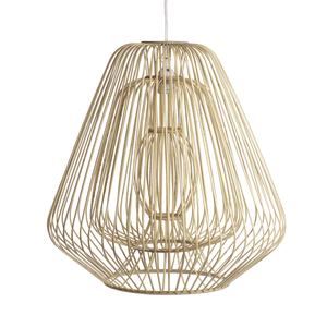 Bamboo & Rattan Layered Bell Shape Pendant - Natural - Cece & Me - Home and Gifts